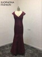 Moda V Neck Mermaid Evening vestidos 2017 Cetim Roxo fenda lado Arábia Árabe Kaftan vestidos de Noite Plus Size vestido de festa