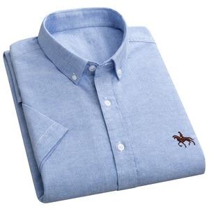 Image 3 - 2019 夏綿 100% の高品質ファッションビジネスの男性カジュアルシャツストライプ半袖シャツオックスフォードドレスシャツプラスサイズ