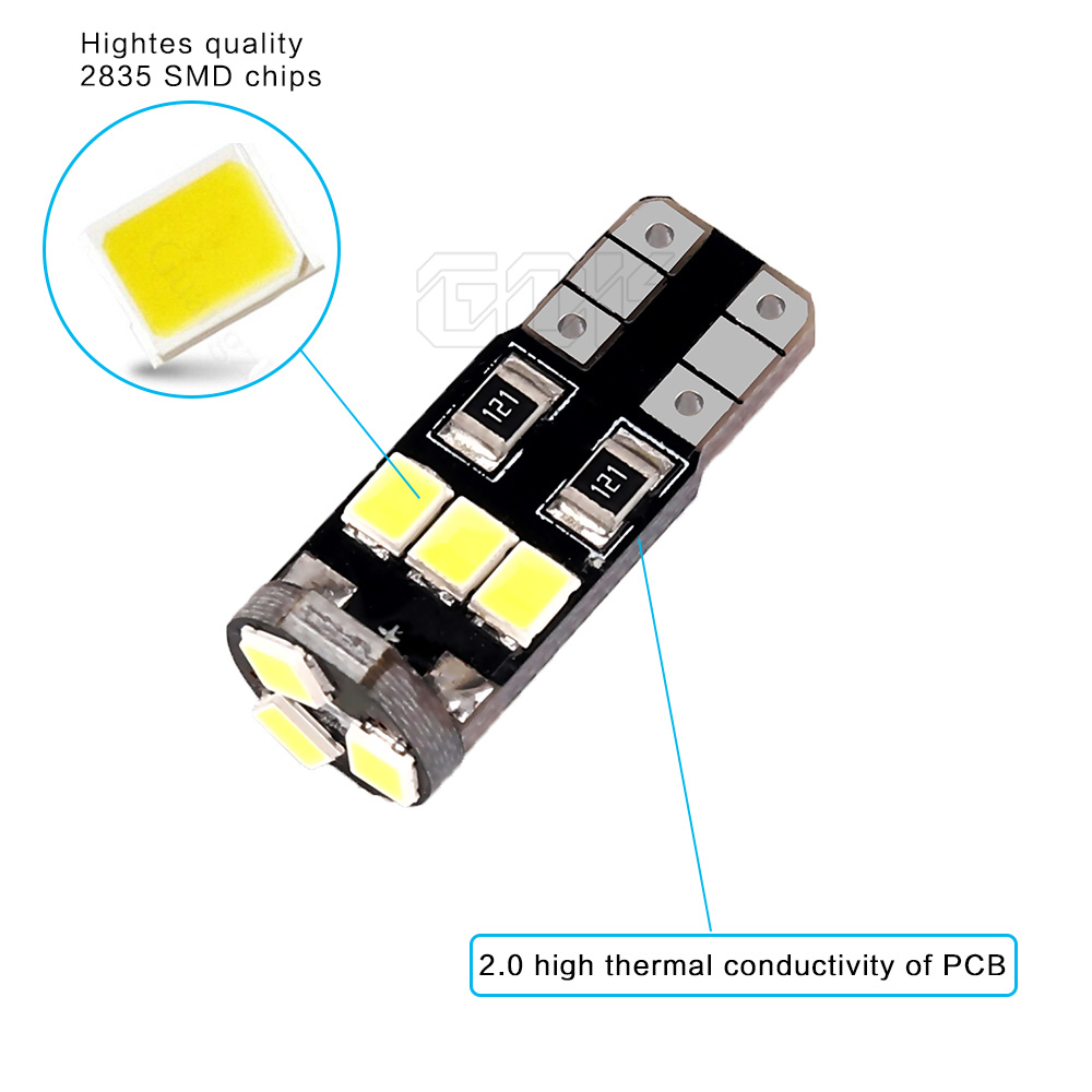 Super Bright 50 X T10 W5W led canbus T10 194 168 2835 LED t10 9SMD Canbus 12V Car Auto LED Bulbs Indicator Light Parking Lamp in Signal Lamp from Automobiles Motorcycles