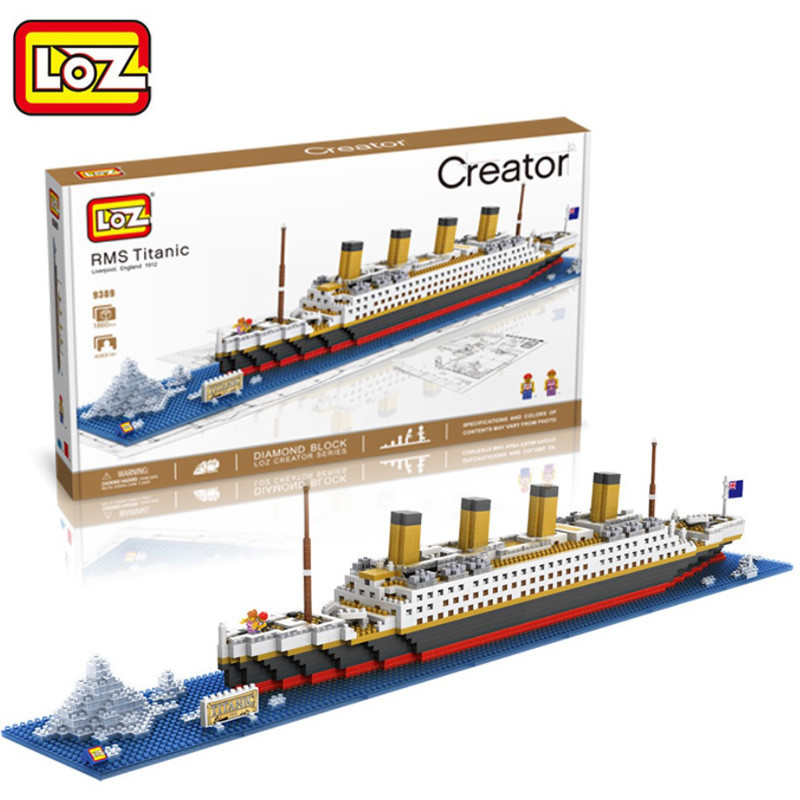 LOZ 3D Diamond Building Blocks Toys 9389 RMS Titanic Boat Model DIY Nano Bricks Assemble Toys Children Learning Toys Gifts loz diamond blocks figuras classic anime figures toys captain football player blocks i block fun toys ideas nano bricks 9548