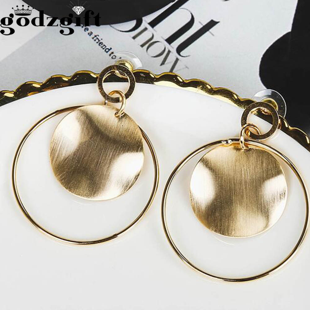Godzgift Fashion Bohemia Alloy Geometry Earrings For Women Ethnic Clip Circle Ring Earring Jewelery Gifts New Discount JE5161