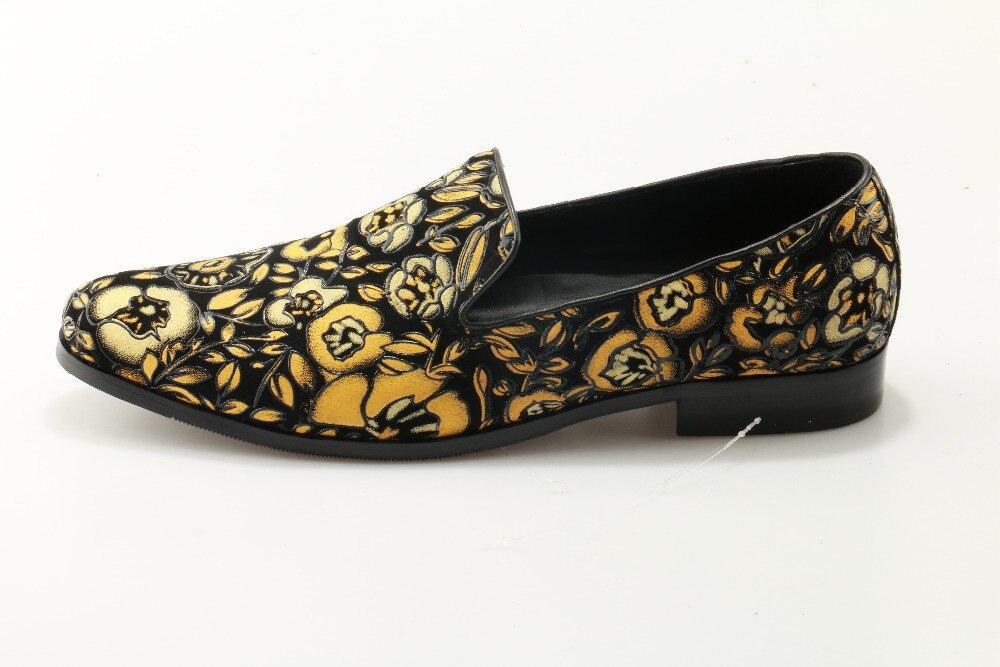 Mens Floral Shoes Trepadeiras Flats Condução Sapatos As De Couro Chinelos Fumadores Casuais Mocassins Impresso Slip on Show Homens Amarelo Camurça FITIfqWr6