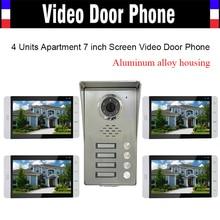 4 Units Apartment Video Doorphone 7 inch Monitor Video Door Phone Intercom Aluminum Alloy IR Camera Waterproof Door bell