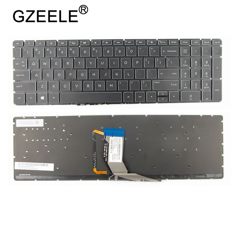 GZEELE NEW FOR <font><b>HP</b></font> <font><b>250</b></font> <font><b>G6</b></font> 255 <font><b>G6</b></font> 15-BS 15T-BS 15-BW 15Z-BW 15-bs000 15-bs100 15-bs500 15-bs600 <font><b>Keyboard</b></font> US Black With Backlit image