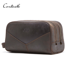 CONTACTS Bolsa de cosméticos crazy horse de piel auténtica para hombre, bolsa de aseo de viaje, gran capacidad, organizador de bolsas de maquillaje