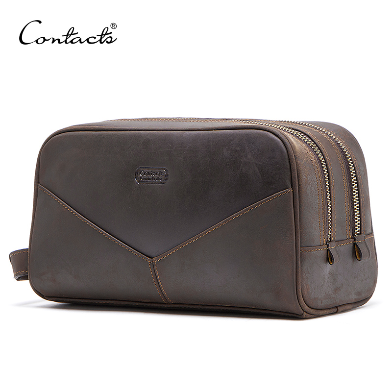 CONTACT'S Crazy Horse Genuine Leather Men Cosmetic Bag Travel Toiletry Bag Big Capacity Wash Bags Man's Make Up Bags Organizer