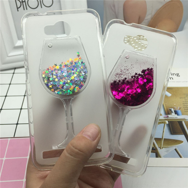 Glitter Quicksand <font><b>Phone</b></font> <font><b>Cases</b></font> for Huawei <font><b>Y3</b></font> <font><b>II</b></font> 2 Y3II Lua-L21 <font><b>Case</b></font> Bling Cute Srtars Cup With Soft Silicon Back Cover 3D Capa
