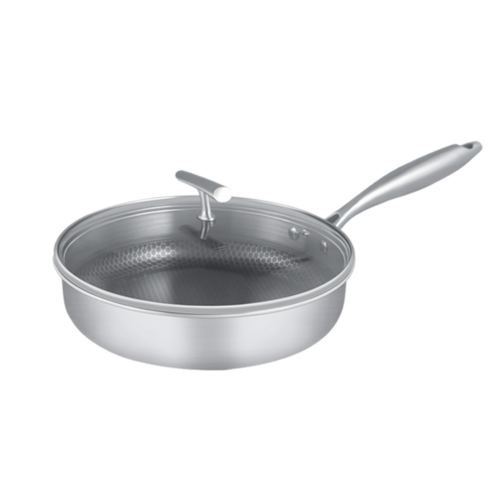 Kitchen 304 stainless steel pan non stick steak omelette pan pancake pot thick pan wx9141548