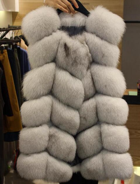 Лучшее качество средней длины женщины подлинных реальный фокс меховой жилет Gilet российские зимние пальто со всеми реальные фото SH-46