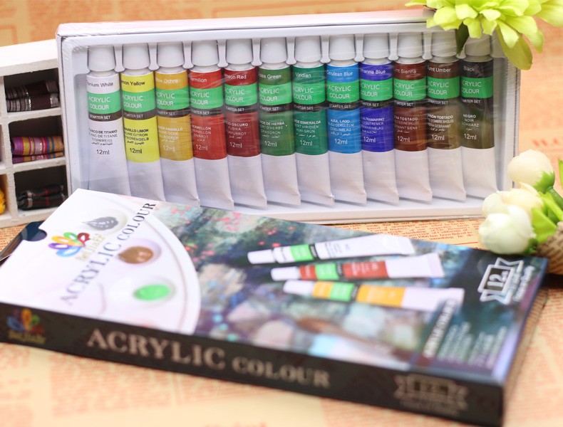 akrylový pigment - acrylic pigment 12 color 12ml wall painting textile hand-painted DIY Nail art pigment