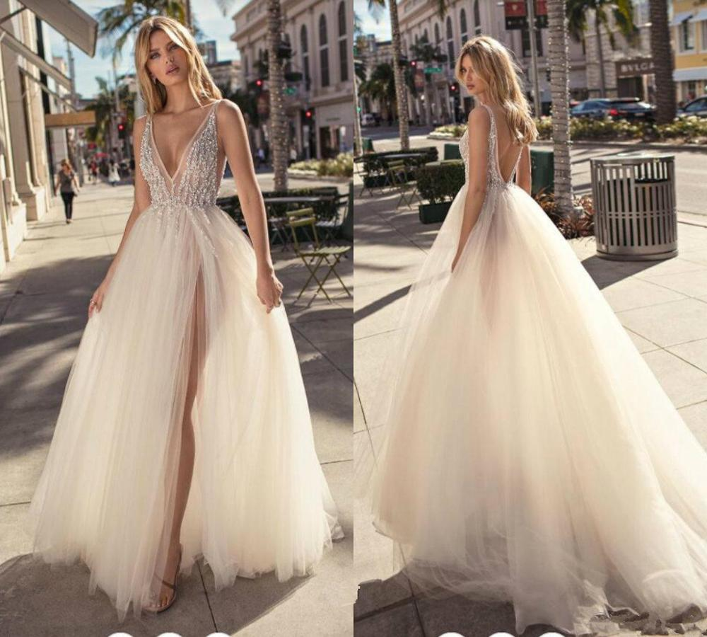 Glamour Sexy A-Line V-neck Neckline Beading Backless Wedding Dress  With Soft Tulle Illusion Summer Bridal Dress