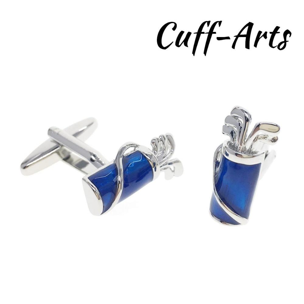 Cuffarts Golf Bag Cuffinks Gentleman Golf Clubs 2018 Men Blue Color Cufflinks Trendy Fashion Gifts Vintage Cufflink C20107