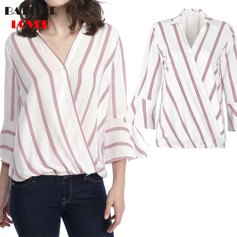 2019 Spring Summer Fashion Elegant Striped Women Shirts Sexy V-neck Flare Sleeve Tops Casual Loose Button Ladies Blouse Femme