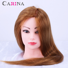 Wholesale Price 30% Human Hair Hairdressing Training Head Practice Hair Wig Mannequin Dummy Doll Heads with Free Clamp цены