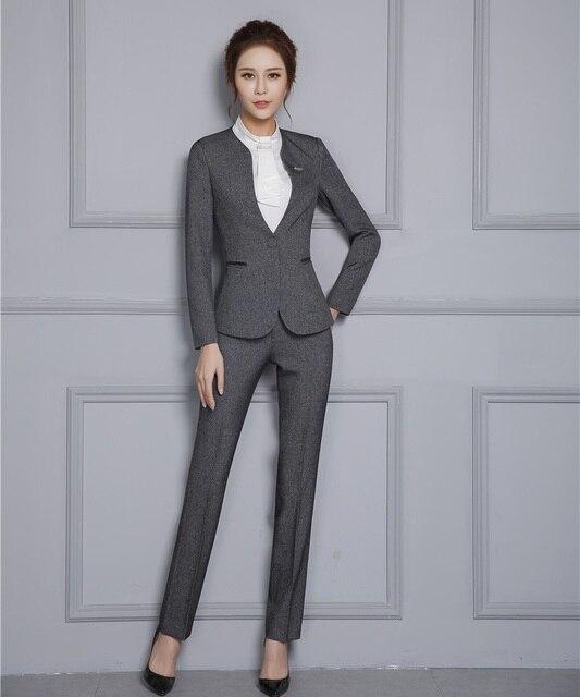 0c621171d Nuevo estilo Formal señoras gris Blazer mujeres ropa de trabajo trajes con  pantalón y chaqueta conjuntos