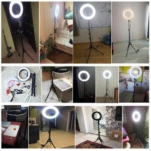 """Image 5 - Fotopal fotoğrafçılık LED halka ışık makyaj için 13 """"5500 K kısılabilir kameralı telefon fotoğraf stüdyosu Video lamba Youtube ile tripod standı"""