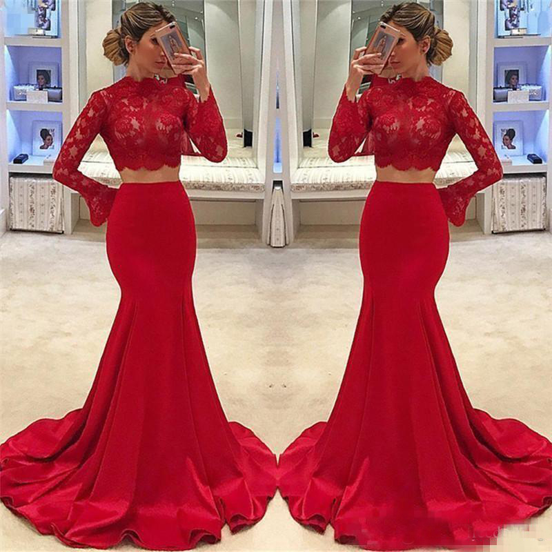 Cheap Red Two Piece   Prom     Dresses   2019 Long Sleeve High Neck Mermaid Lace Cheap Formal Evening Gowns African Arabic Vestidos