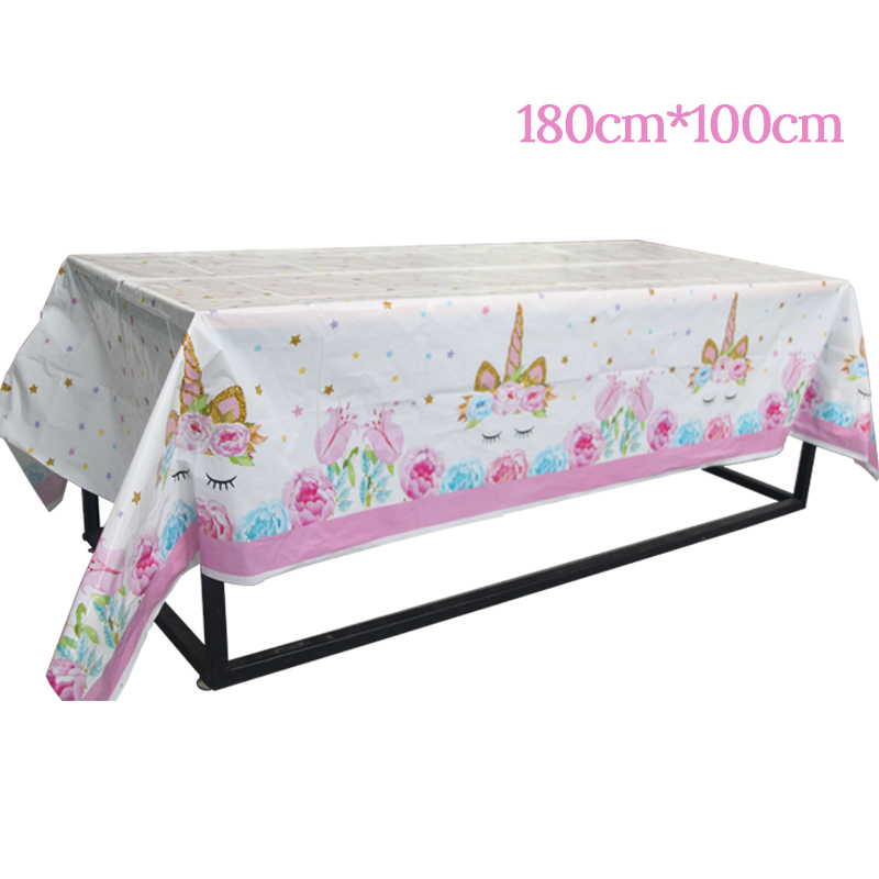 1pcs Unicorn Plastic Tablecloth Unicorn Party Kids Happy Birthday Party Decoration Baby Shower 1st 2st 3st Table Cover Supplies