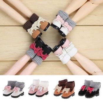 c67da4085 4 pares muñeca zapatos Bowknot PU botas de cuero para 1 6 Blythe Licca