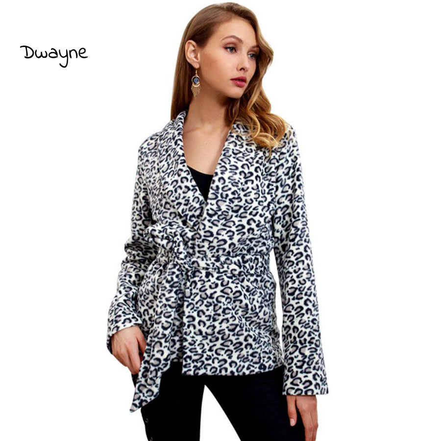 Women Belt Sashes Short Coat Ladies Autumn Jacket Coat Fashion Leopard Print For Women 2018 Leisure Outerwear Women Clothes