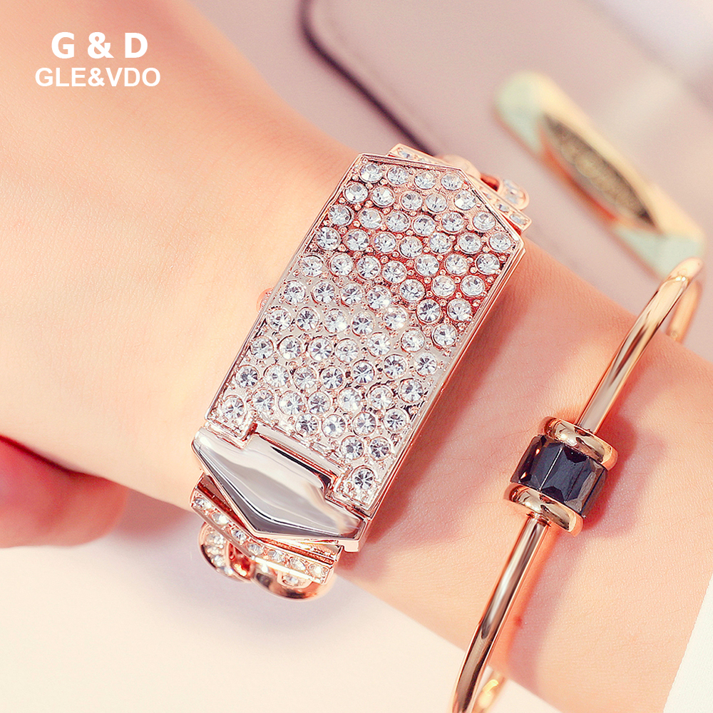 2018 G&D Women Watch Relogio Feminino Luxury Bracelet Crystal Evening Watch with Cover Relojes Mujer Clock Female Quartz Watch