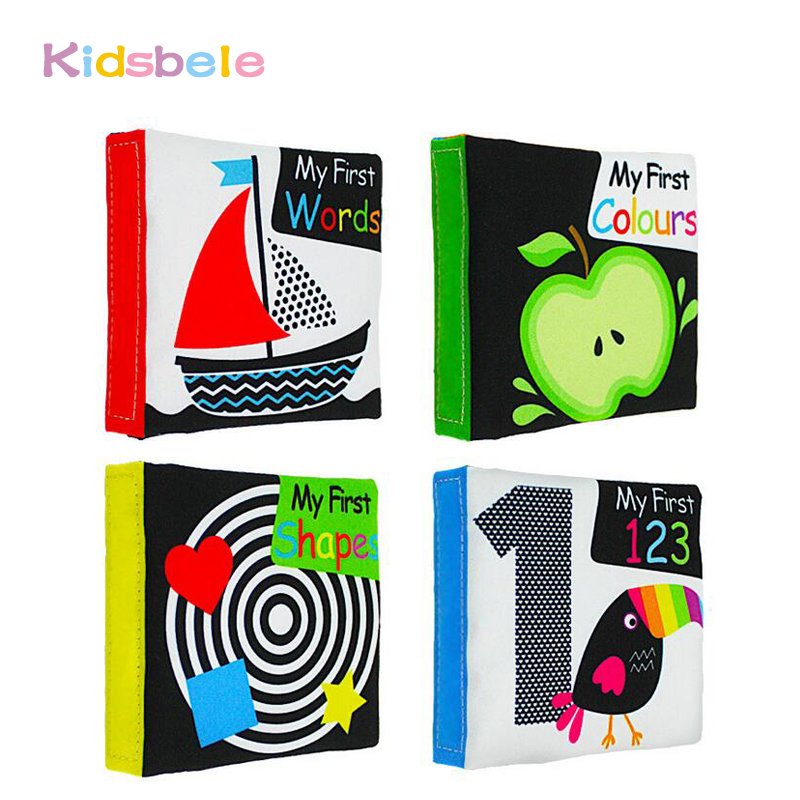 Soft Baby Toys 4PCS Black/White Colorful Newborn Books Learning Color/Shape/Words/Number Intelligence Development Toddler Toys