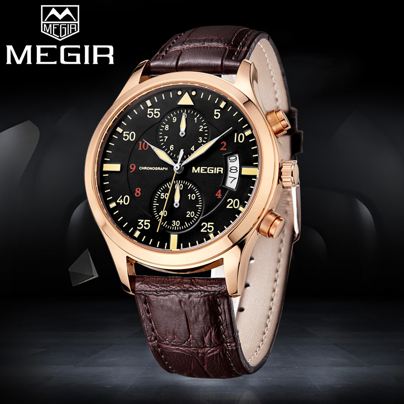 2018 MEGIR Men Sport Watches Top Brand Luxury Mens Fashion Quartz Watch Man Casual Chronograph Analog Clock Relogio Masculino fashion luxury waterproof analog men sport watch chronograph mens leather watches male clock quartz wristwatch relogio masculino