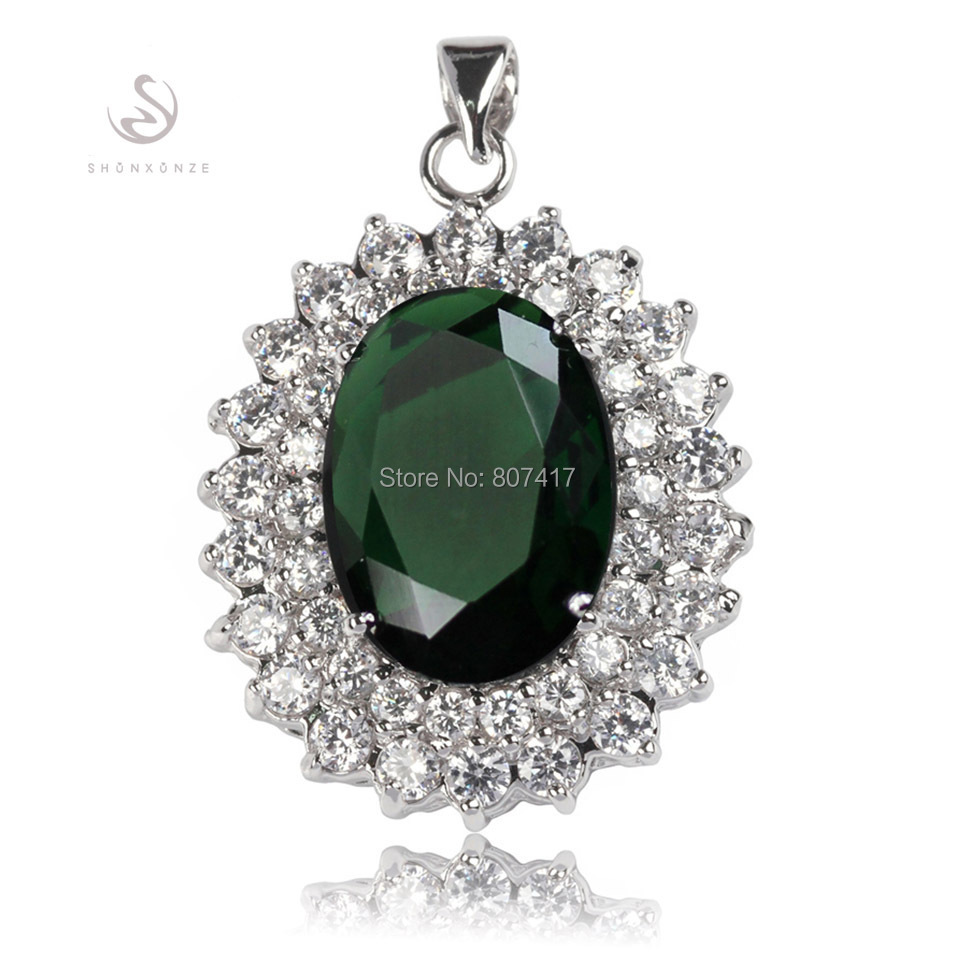 SHUNXUNZE Time limited discount Peridot Cubic Zirconia Silver Plated Favourite Hot Recommend Pendants R653 Engagement Wedding