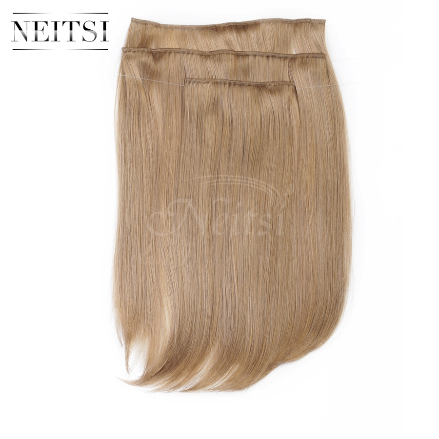 Купить с кэшбэком Neitsi 14'' 3Pcs/Set 75g Clip in on Synthetic Hair Extensions Straight Hairpieces 530#