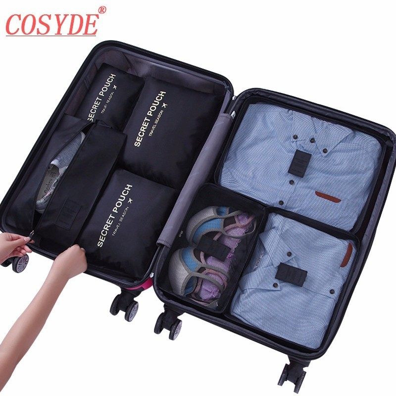 7PCs/Set Travel Bag Zipper Packing Cubes Bags Shoes Clothing Pouches Bags Waterproof Luggage Container Organiser For Clothing