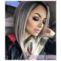 Hot!Promotion Ombre Gray Bob Wig Black/Silver Gray Lace Front Wig Short Grey Bob Wigs Bob Straight Glueless Wigs For Black Women