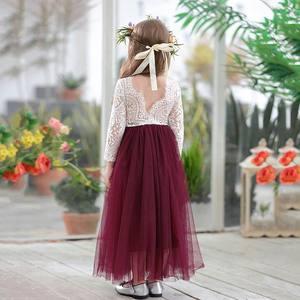 Image 5 - Princess Dress for Girls Ankle Length Wedding Party Dress Eyelash Back White Lace Beach Dress Children Clothing E15177