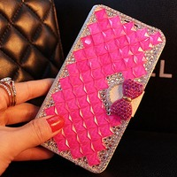 Diamond Filp Leather Case For Lenovo A1000 A 1000 Wallet Stand Case For Lenovo A1000 Luxury