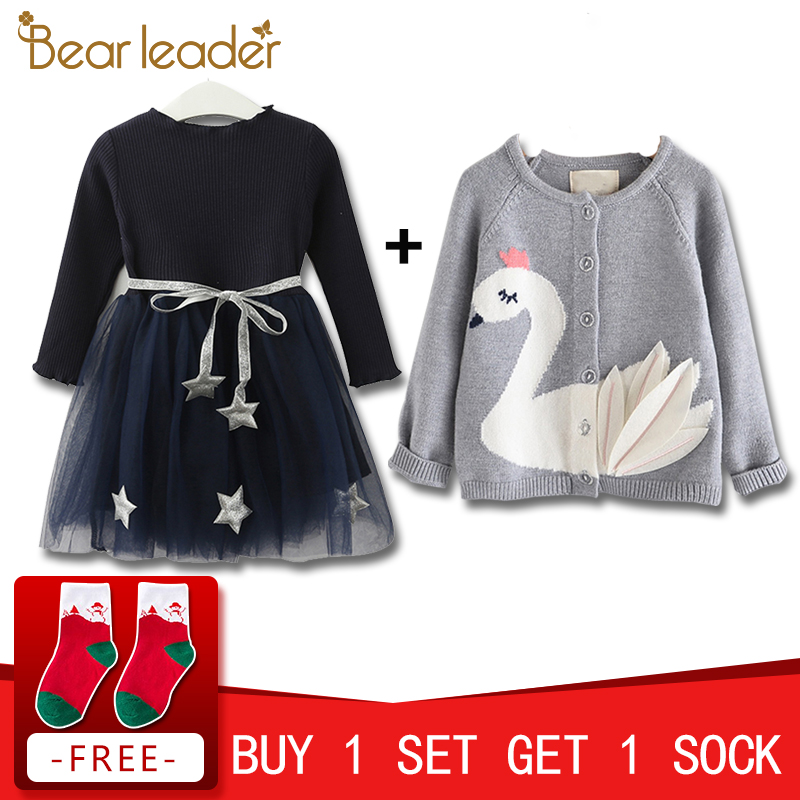 Bear Leader Girls Sweaters Lovely Swan Patch Design Sweater Cardigan Jacket Cardigan Girl Cardigan