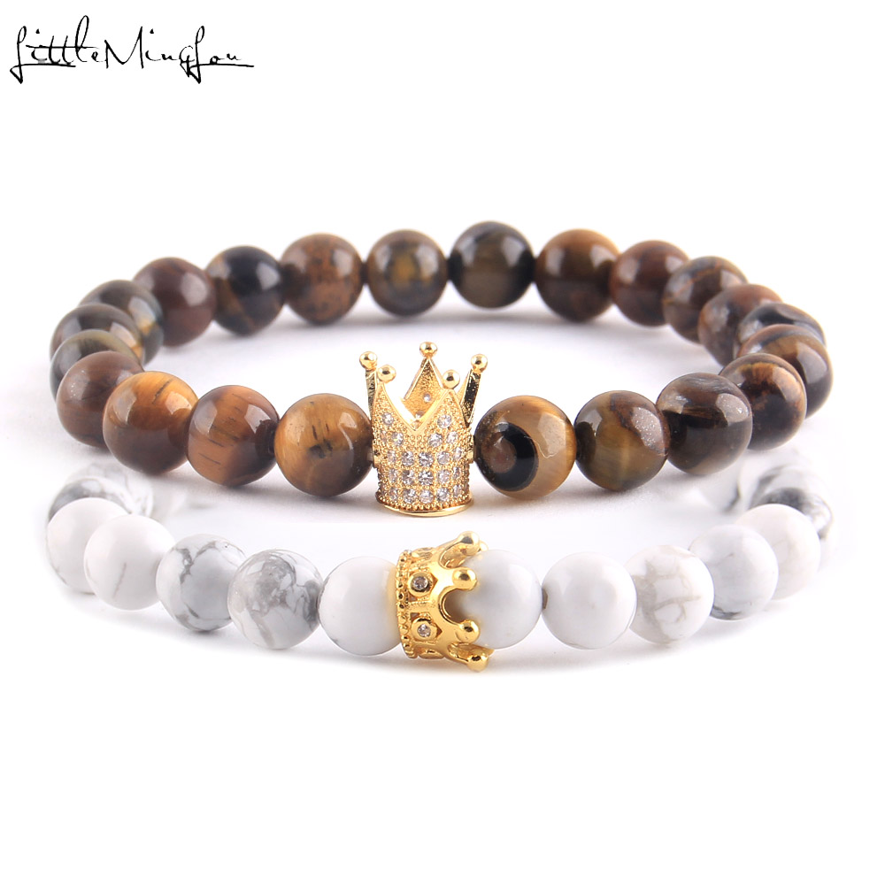 WML Luxury natural stone Buddha beads Couple Lovers bracelet Set CZ Crown Charm women yoga Bracelets Bangles for men in Charm Bracelets from Jewelry Accessories