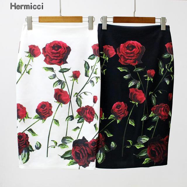 Hermicci Для женщин юбка-карандаш Высокая талия большой цветок Облегающая Юбка-миди дамы цифровой печати белый черный тонкий бедра юбка