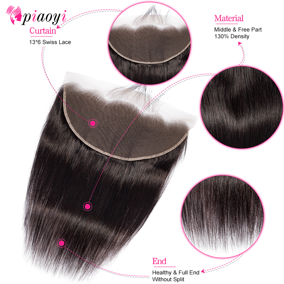 Piaoyi Brazilian Straight Hair 13x6 Lace Frontal HD Swiss Human Hair Lace Closure Remy Hair Transparent Lace Frontal(China)