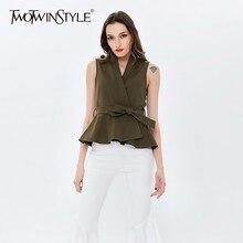 Twotwinstyle Riem Vest Voor Vrouwen Mouwloze V hals Hoge Taille Ruches Jassen Vrouwelijke Voorjaar 2020 Mode Plus Size Kleding