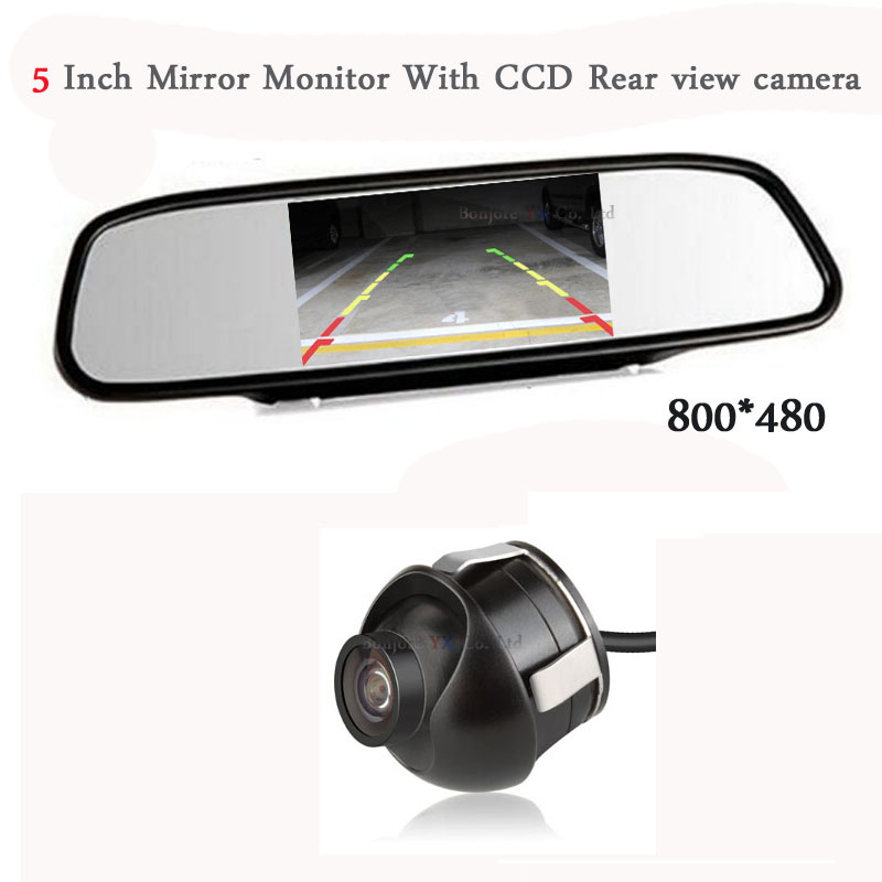 5-Inch HD Rearview Car Mirror Monitor Video Input 800*480 12V+360 CCD Car reversing backup Rear / Front View Camera Waterproof