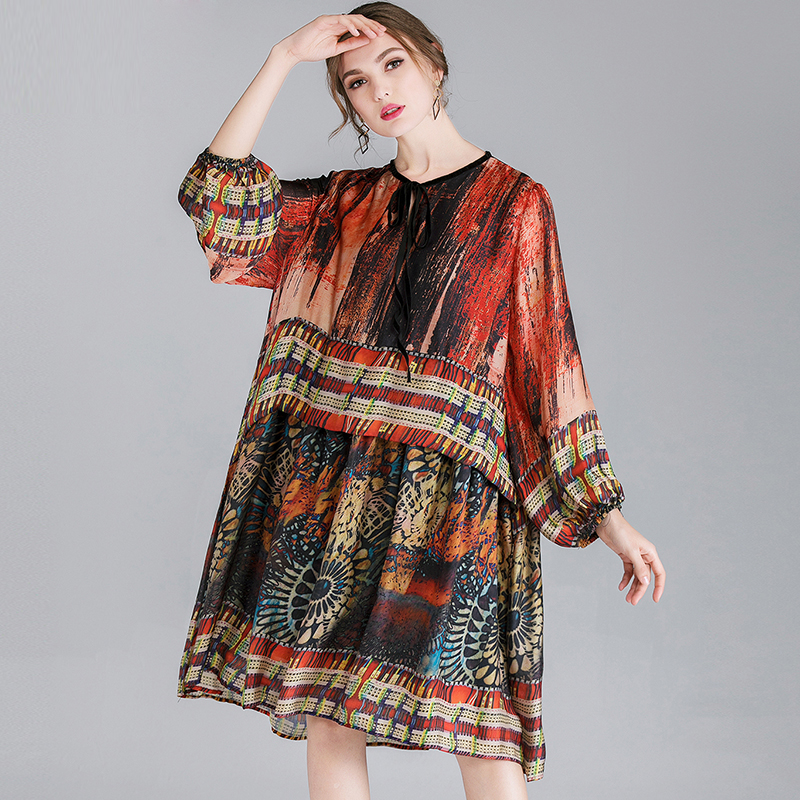 Robes Grande De As Plus Mode Printemps Impression Enceintes Taille 2019 Lady Lanterne as Robe Femmes Manches Picture Picture Ample 7wxFpEq