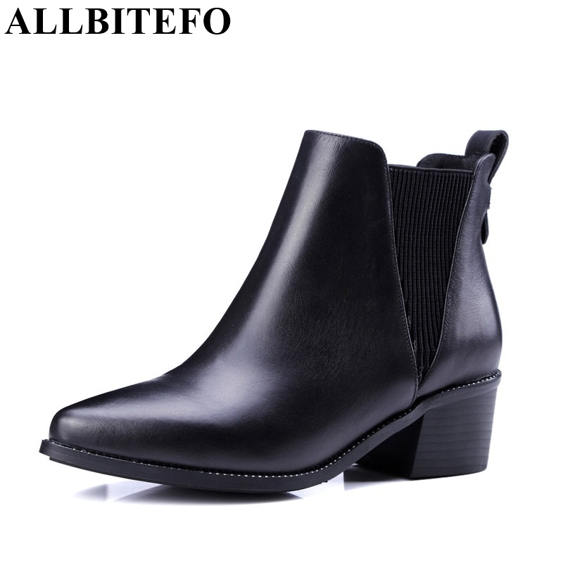 ALLBITEFO thick heel fashion charm Slip-On ankle boots genuine leather platform classics short women boots martin boots 4 colors round toe charm high heel genuine leather platform martin ankle boots fashion western high quality short womne boots