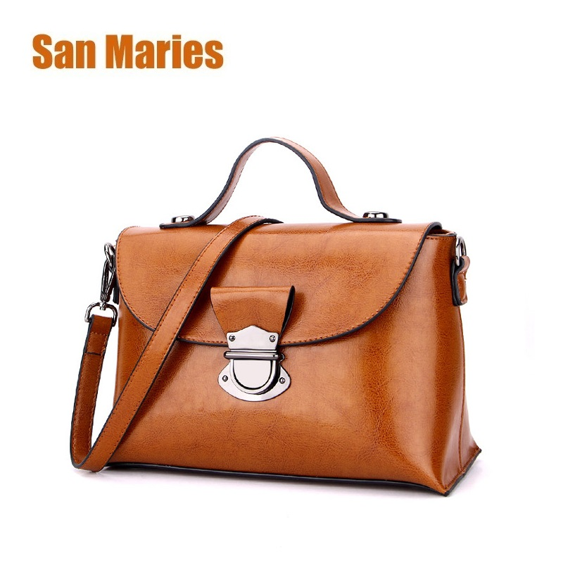 San Maries Women Oil Wax Leather Designer Handbags High Quality Shoulder Bags Ladies Fashion Brand Genuine Leather Woman Bags chispaulo brand designer female handbags high quality oil wax cowhide lady real genuine leather bags for women s shoulder bags
