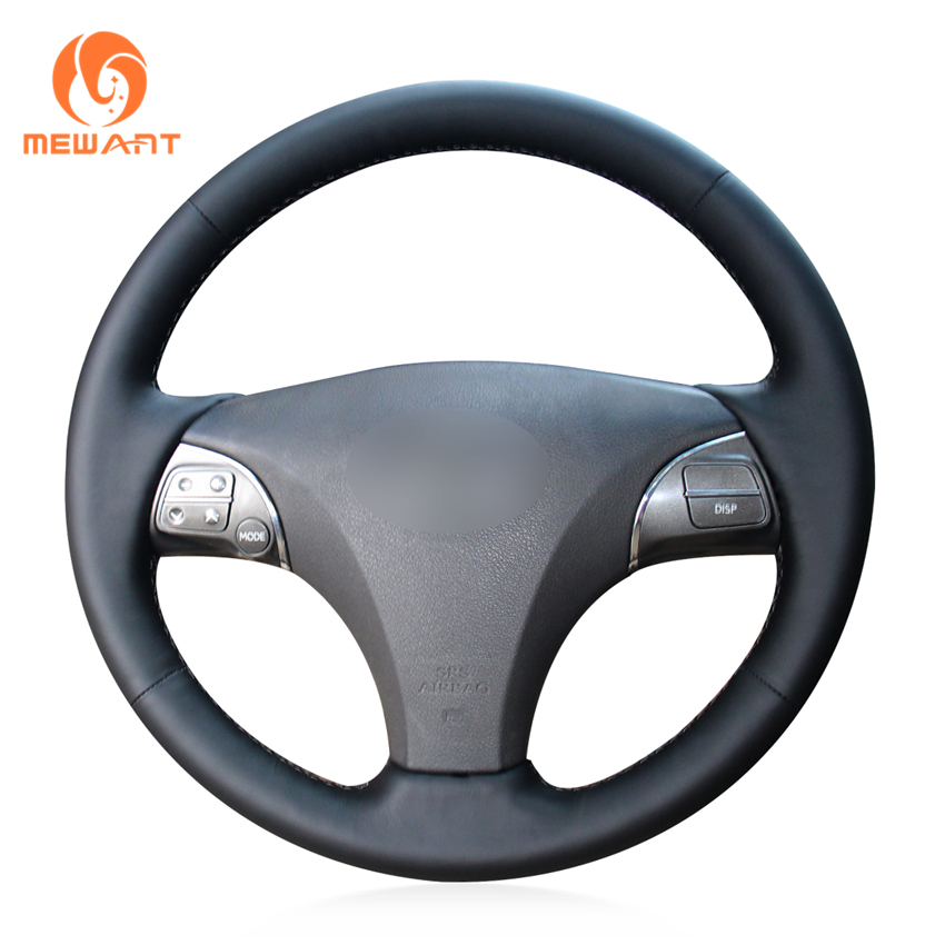 Mewant Black Genuine Leather Steering Wheel Cover For