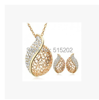 Fashion Crystal Set OL style lover Acacia leaves Jewelry sets / necklace + earrings Noble jewelry for women LM-S055