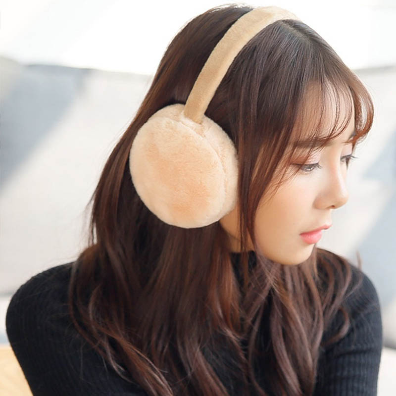 Earmuff Plush Warm Foldable Solid Color Gift For Winter Women Lady Sport Outdoor New