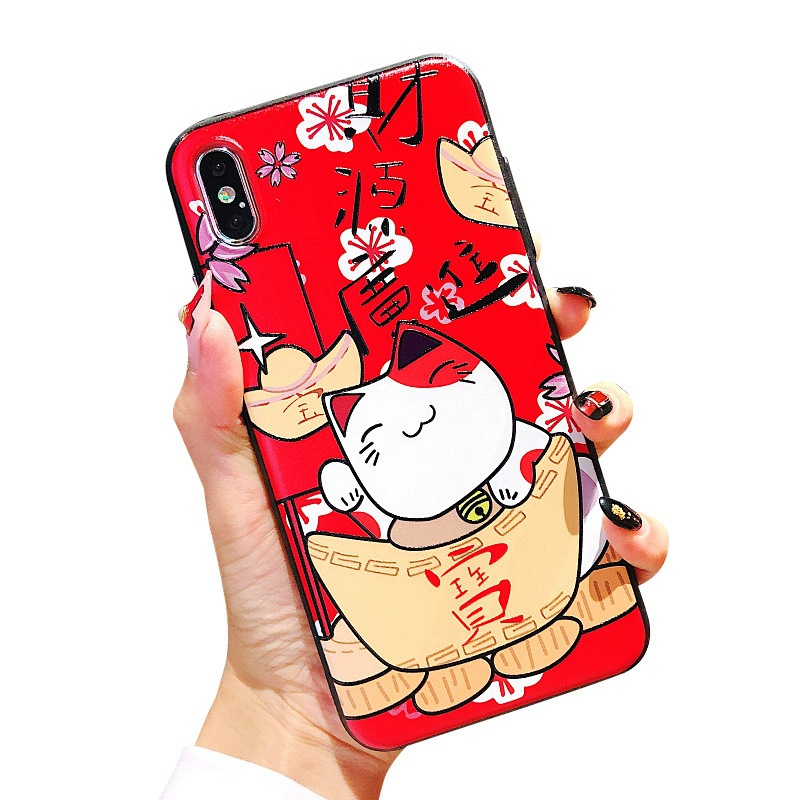 iphone xr case чехол на айфон 7 TPU Soft Shell for Apple Phone Recruit money Cat Applicable X XsMAX 8Plus Cover Fall Proof