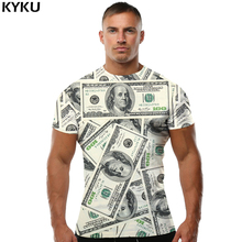 KYKU Brand Dollar Shirt Money T 3d Rock Funny Shirts Men T-shirts Short Sleeves Mens Clothing S To 4XL Tops