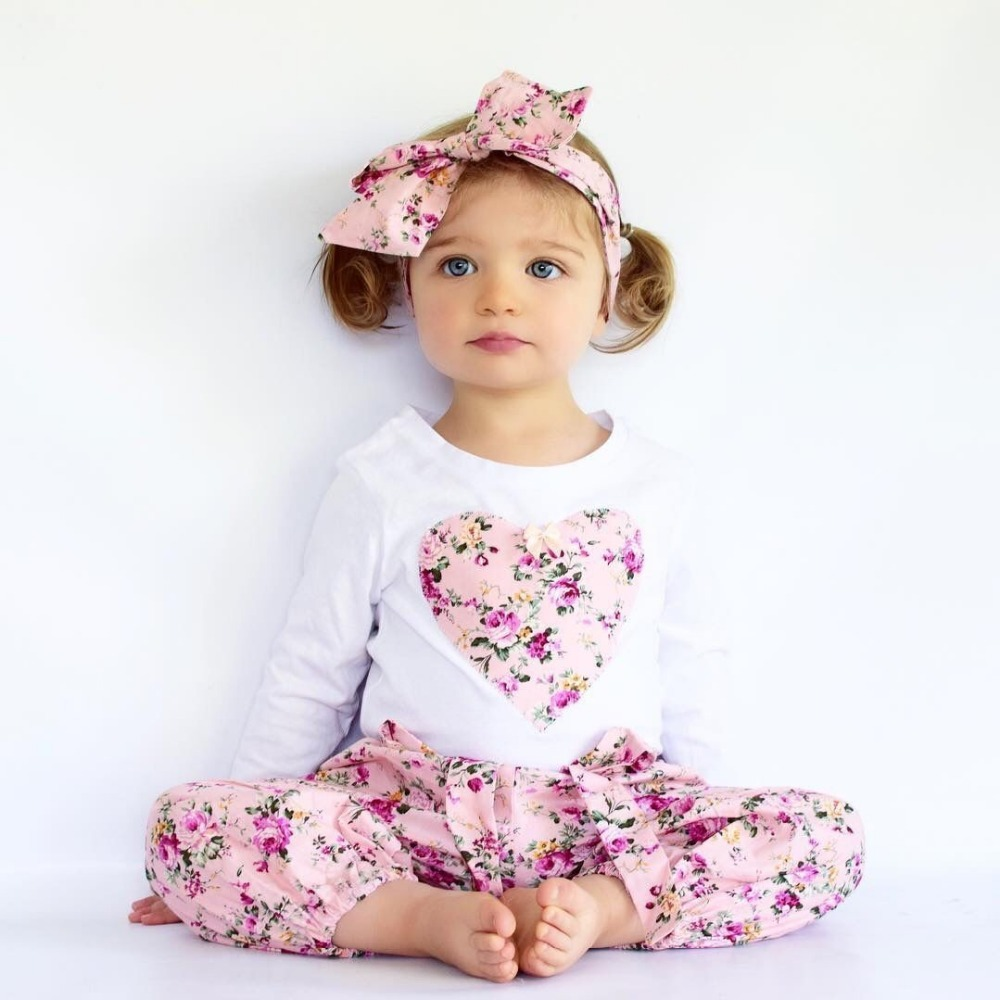 2018 Toddler Girls Clothing Set New Fashion Sports Suit Heart Tops+Trousers+Headwear 3pcs Outfit Baby Girl Clothes Kid Tracksuit