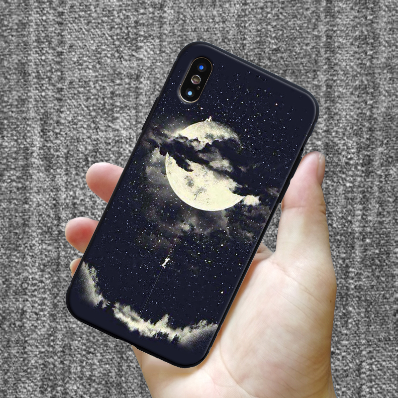 Fashion pattern silicone case for iPhone 11 pro 7 6 6S 8 Plus X 5 S 5S SE XS Max XR matte phone set star moon mobile phone case