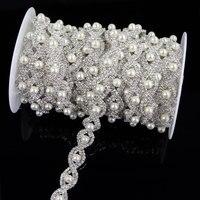 1 Yardas 91*1.6 cm de Plata Piedras Recortar Corazón Apliques de Perlas de Cristal Strass Hotfix Rhinestones de Encaje Costura Artesanía Nueva llegada